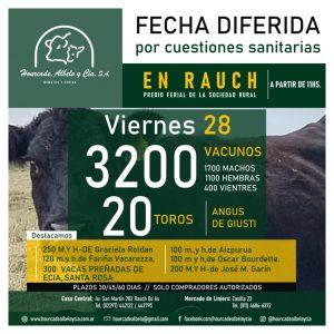 Remate – viernes 28 de mayo de 2021 @ Sociedad Rural de Rauch
