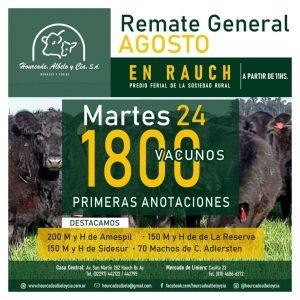 Remate – martes 24 de agosto de 2021 @ Sociedad Rural de Rauch